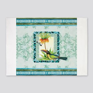 Botanical Toucan Dragonfly Leopard 5'x7'Area Rug