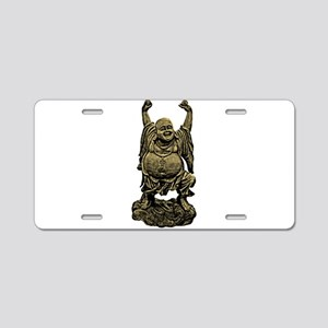 Laughing Buddha statue Aluminum License Plate