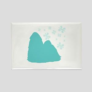 Shih Tzu Snowflake Rectangle Magnet