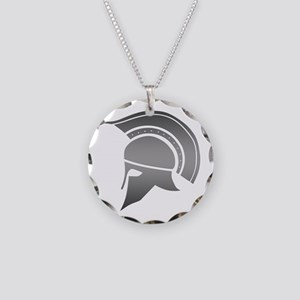 Ancient Greek Spartan Helmet Necklace Circle Charm