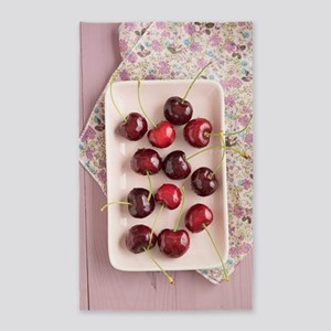 Cherries in a bowl Area Rug