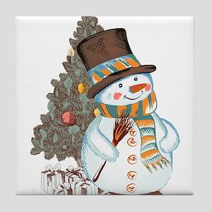 Hand drawn snowman Christmas backgrou Tile Coaster