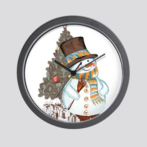 Hand drawn snowman Christmas background Wall Clock