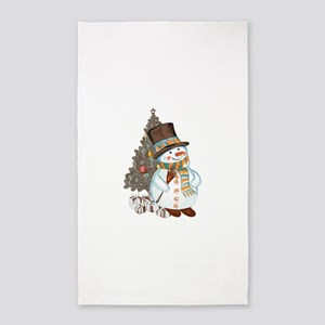 Hand drawn snowman Christmas background Area Rug