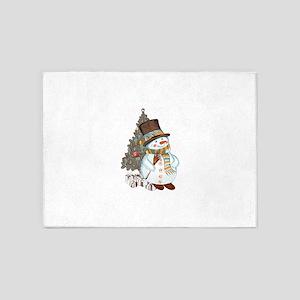 Hand drawn snowman Christmas backgr 5'x7'Area Rug