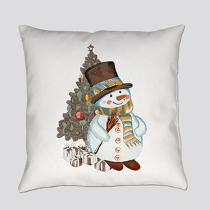 Hand drawn snowman Christmas backg Everyday Pillow