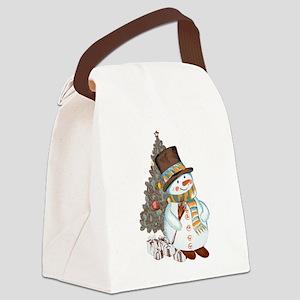 Hand drawn snowman Christmas back Canvas Lunch Bag