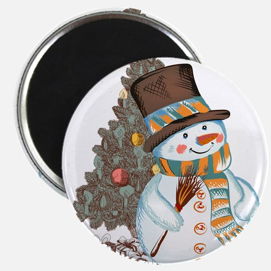 Hand drawn snowman Christmas background Magnets