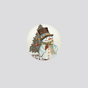 Hand drawn snowman Christmas backgroun Mini Button