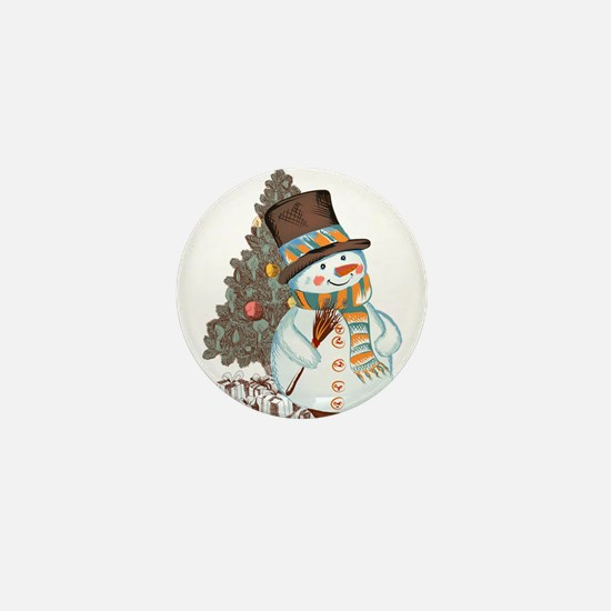 Hand drawn snowman Christmas backgroun Mini Button