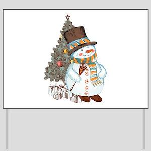 Hand drawn snowman Christmas background Yard Sign