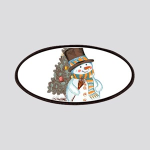 Hand drawn snowman Christmas background Patch
