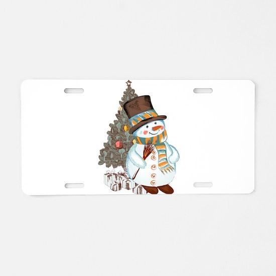 Hand drawn snowman Christma Aluminum License Plate