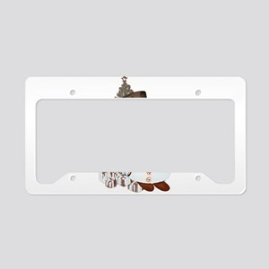 Hand drawn snowman Christmas License Plate Holder