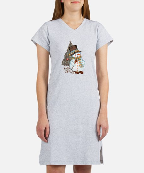 Hand drawn snowman Christmas ba Women's Nightshirt