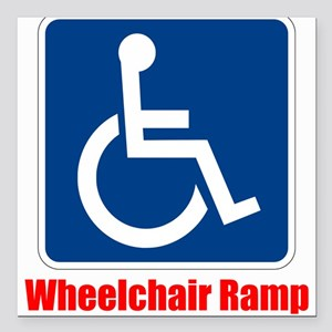 "Handicapped Wheelchair Ramp Square Car Magnet 3"" x"