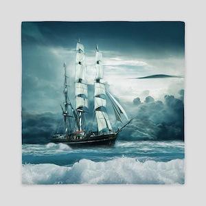 Blue Ocean Ship Storm Clouds Queen Duvet
