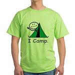 Camping Stick Figure Green T-Shirt