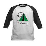 Camping Stick Figure Kids Baseball Jersey