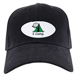 Camping Stick Figure Black Cap with Patch