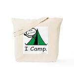 Camping Stick Figure Tote Bag