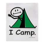 Camping Stick Figure Throw Blanket