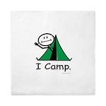 Camping Stick Figure Queen Duvet