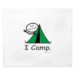 Camping Stick Figure King Duvet