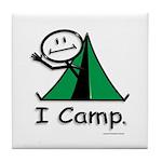 Camping Stick Figure Tile Coaster