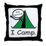 Camping Stick Figure Throw Pillow