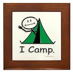 Camping Stick Figure Framed Tile