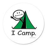 Camping Stick Figure Round Car Magnet