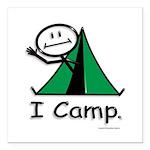 Camping Stick Figure Square Car Magnet 3