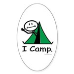 Camping Stick Figure Sticker (Oval 50 pk)