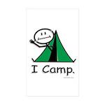 Camping Stick Figure Sticker (Rectangle 10 pk)