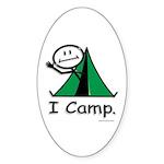 Camping Stick Figure Sticker (Oval 10 pk)