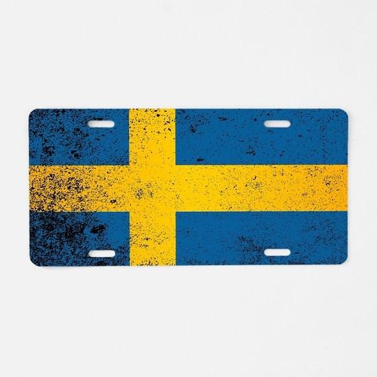 Cute Sweden flag Aluminum License Plate