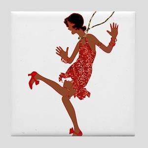 red sequin black flapper Tile Coaster