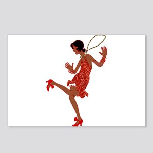 red sequin black flapper Postcards (Package of 8)