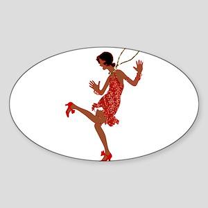red sequin black flapper Sticker