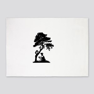 Tree and dogs landscape 5'x7'Area Rug