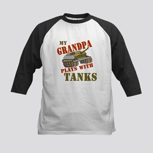 Grandpa Plays with Tanks Kids Baseball Jersey