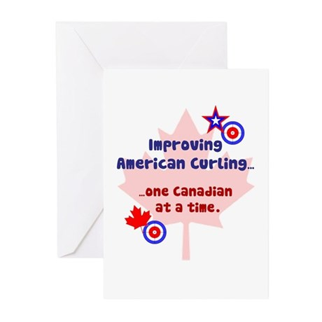 """""""US-CA Curling"""" Greeting Cards (Pk of 10)"""