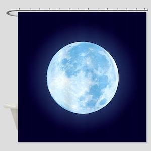Blue Full Moon Shower Curtain