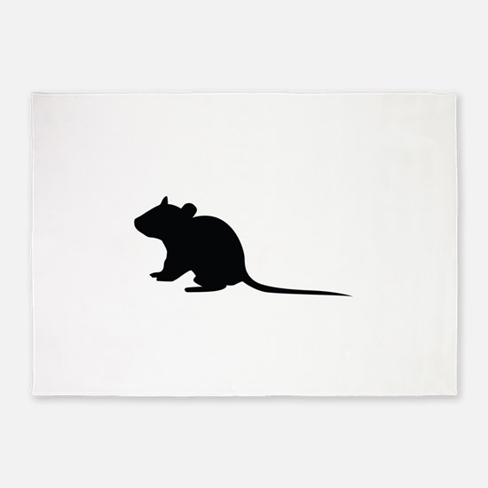 Rat silhouette 5'x7'Area Rug