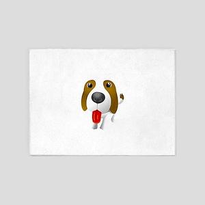 cartoon dog showing tongue 5'x7'Area Rug