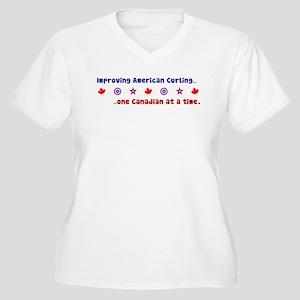 """""""US-CA Curling"""" Women's Plus Size V-Neck T-Shirt"""