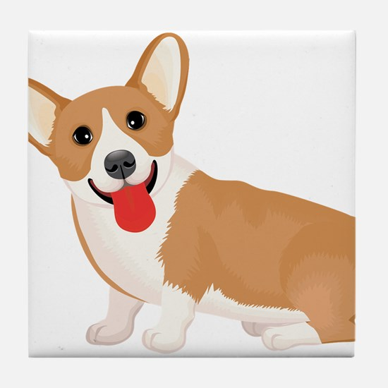 Pembroke welsh corgi dog showing tong Tile Coaster