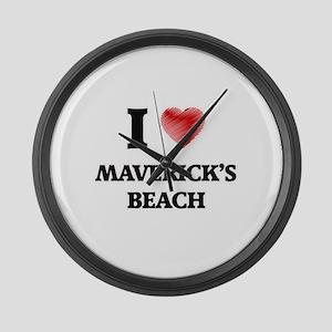 I love Maverick'S Beach Californi Large Wall Clock