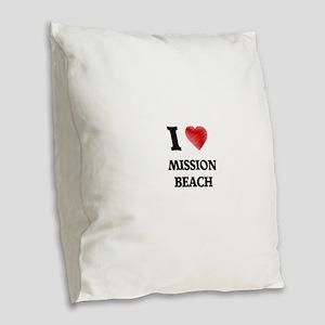 I love Mission Beach Californi Burlap Throw Pillow